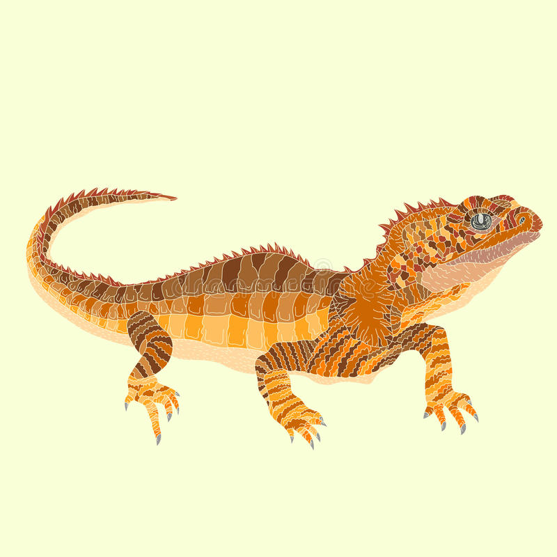 Tuatara lizard. Decor vector illustration royalty free illustration