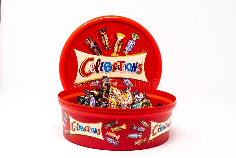 Tub of Celebrations. Reading, United Kingdom - December 30 2018: A tub of Mars celebrations mini chocolates containing Twix, Bounty, mars Bars, maltesers, Milky stock photos
