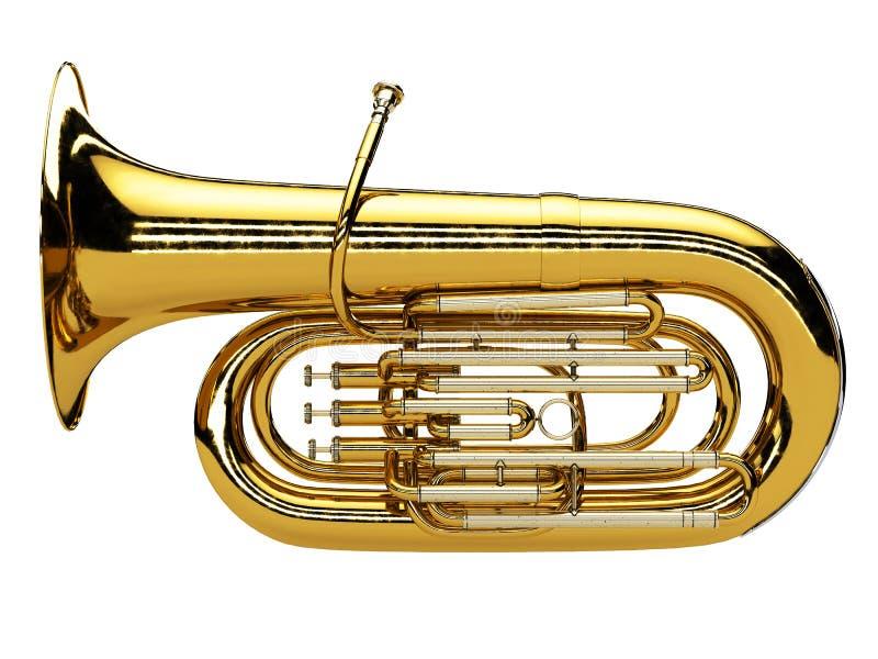 Tuba âgé d'isolement sur le fond blanc photographie stock