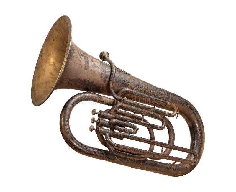 Tuba antiga isolada com um trajeto de grampeamento imagens de stock