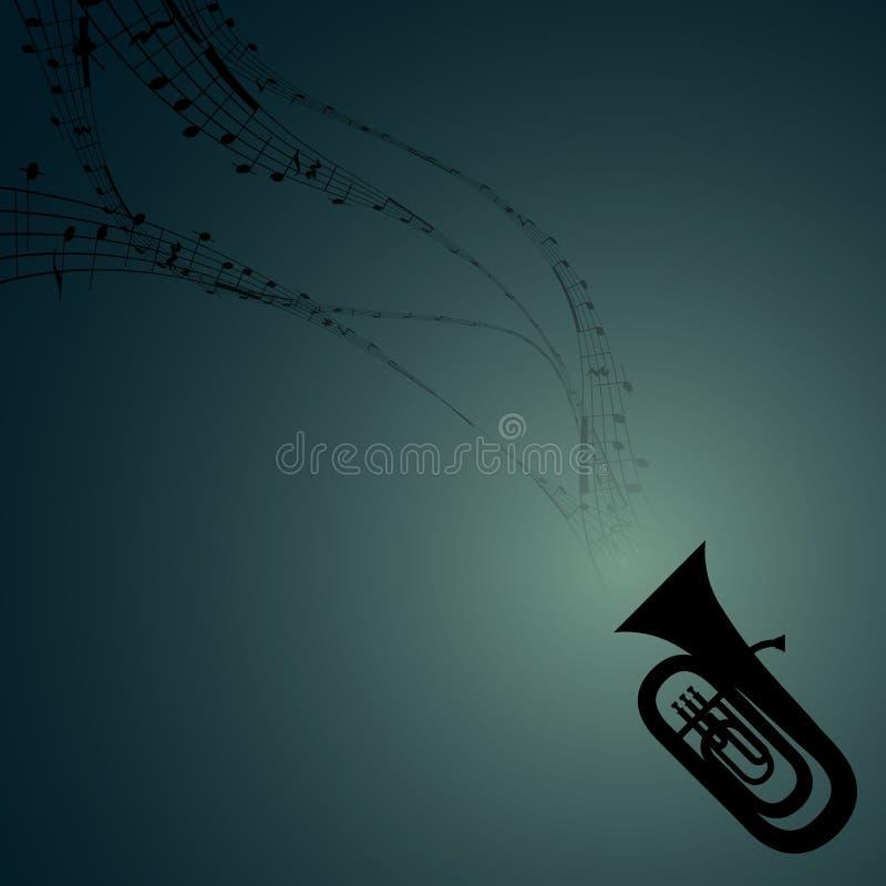 Tuba com símbolos musicais ilustração do vetor