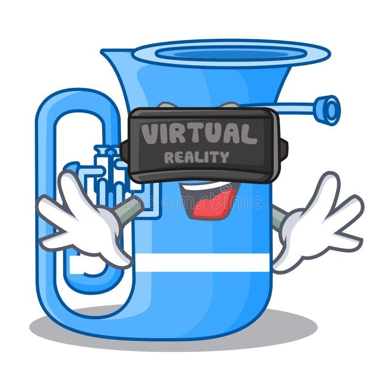 Tuba der virtuellen Realität in der lustigen Karikatur der Form lizenzfreie abbildung