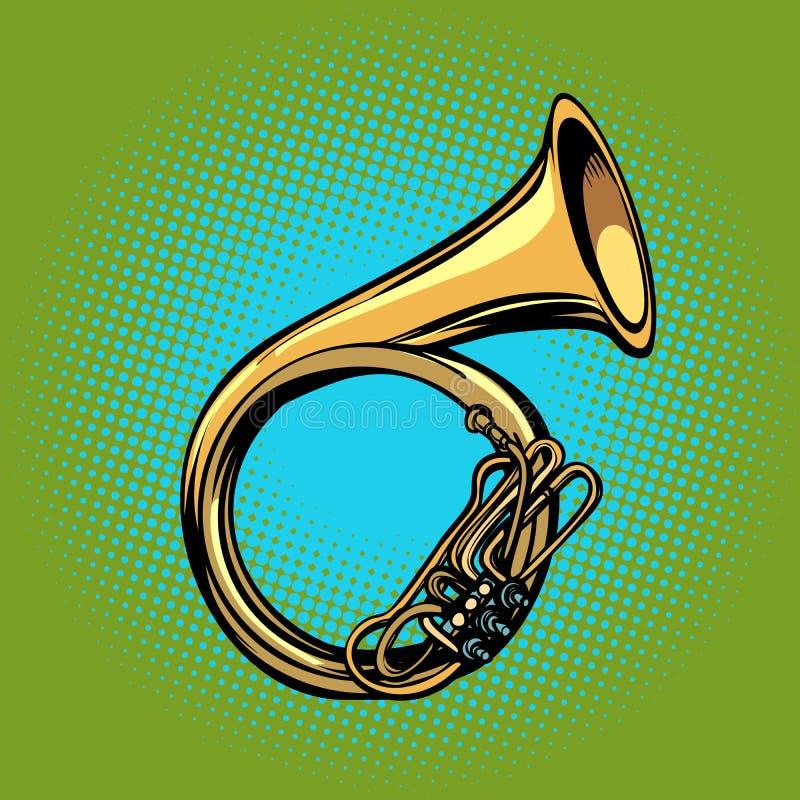 Tuba French horn- heliconmusikinstrument royaltyfri illustrationer