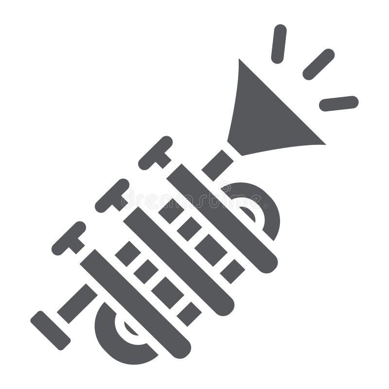 Tuba Glyphikone, Musik und Instrument, Trompetenzeichen, Vektorgrafik, ein festes Muster auf einem weißen Hintergrund vektor abbildung