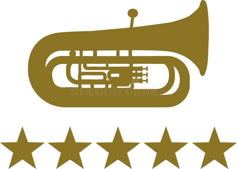 Tuba mit fünf goldenen Sternen vektor abbildung