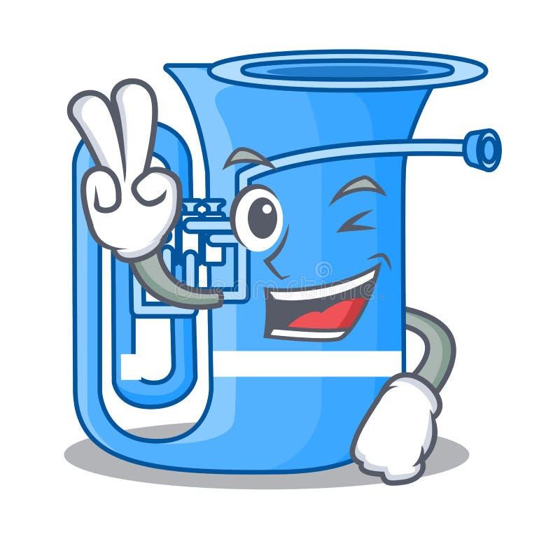Tuba mit zwei Fingern lokalisiert mit im Charakter stock abbildung