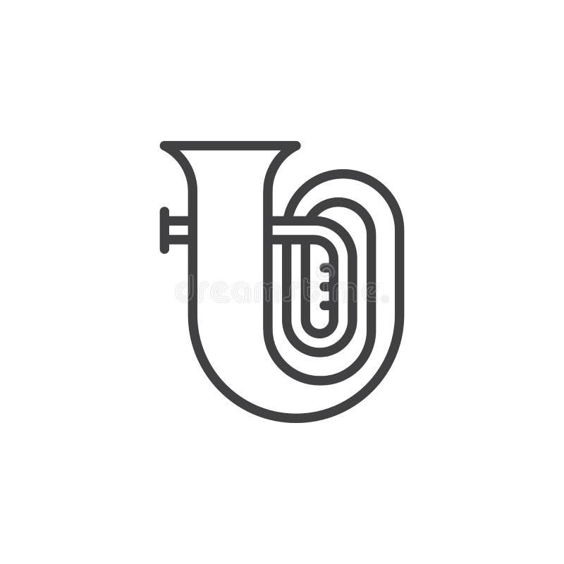 Tuba Music Instrument-Linie Ikone lizenzfreie abbildung