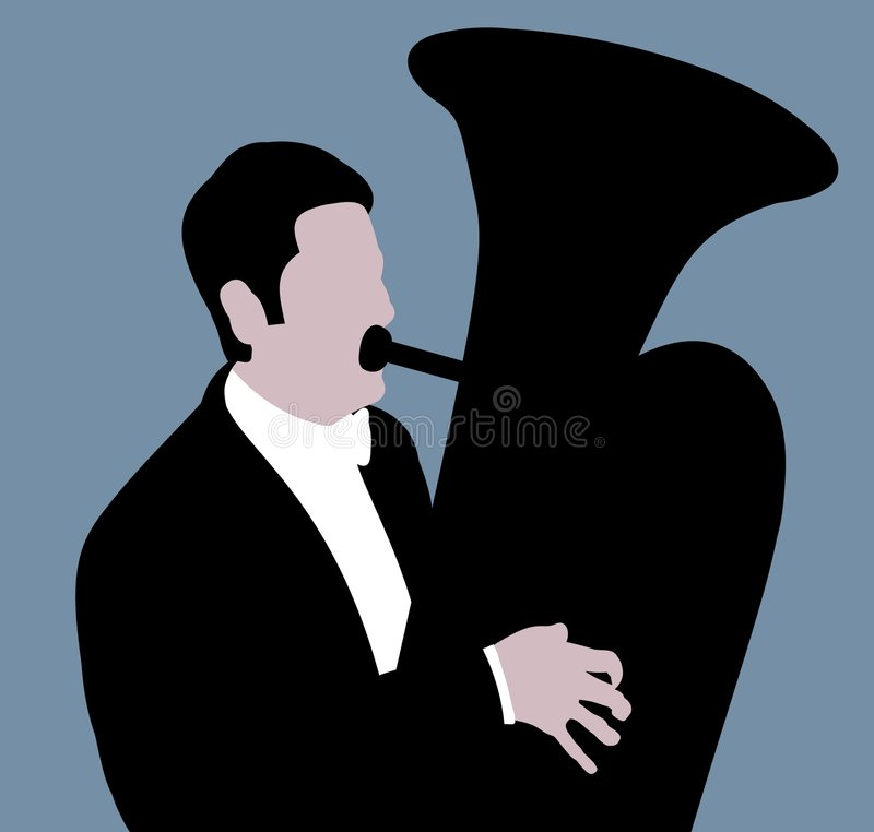 Tuba player royalty free illustration