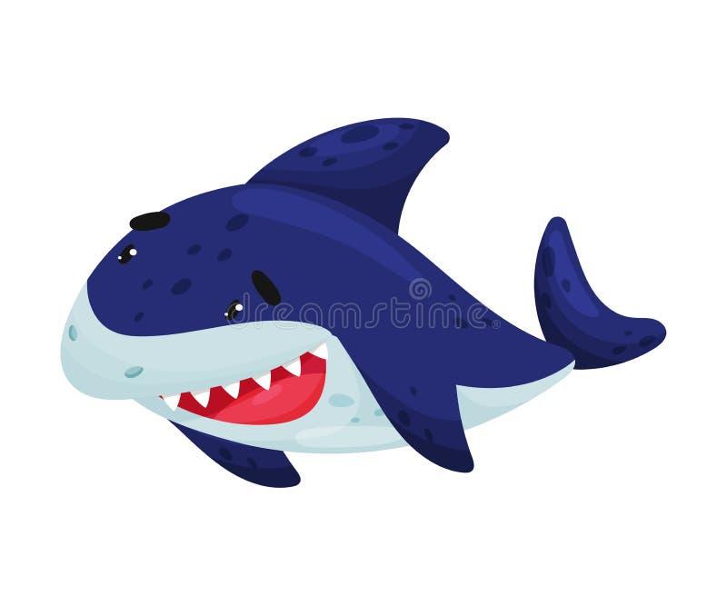 Tubarão alegre dos desenhos animados Ilustra??o do vetor no fundo branco ilustração royalty free
