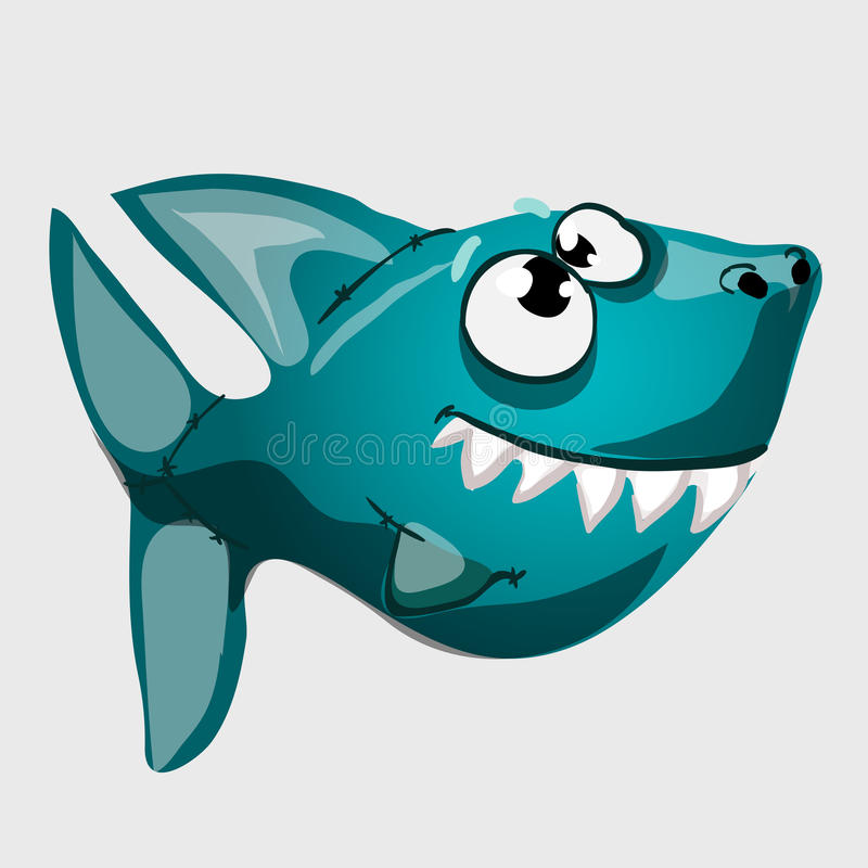 Tubarão azul toothy bonito dos peixes com olhos grandes ilustração stock
