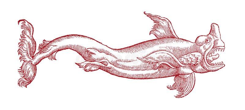 Tubarão com a boca largamente aberta Ilustração após um bloco xilográfico histórico ou do vintage do século XVI ilustração royalty free