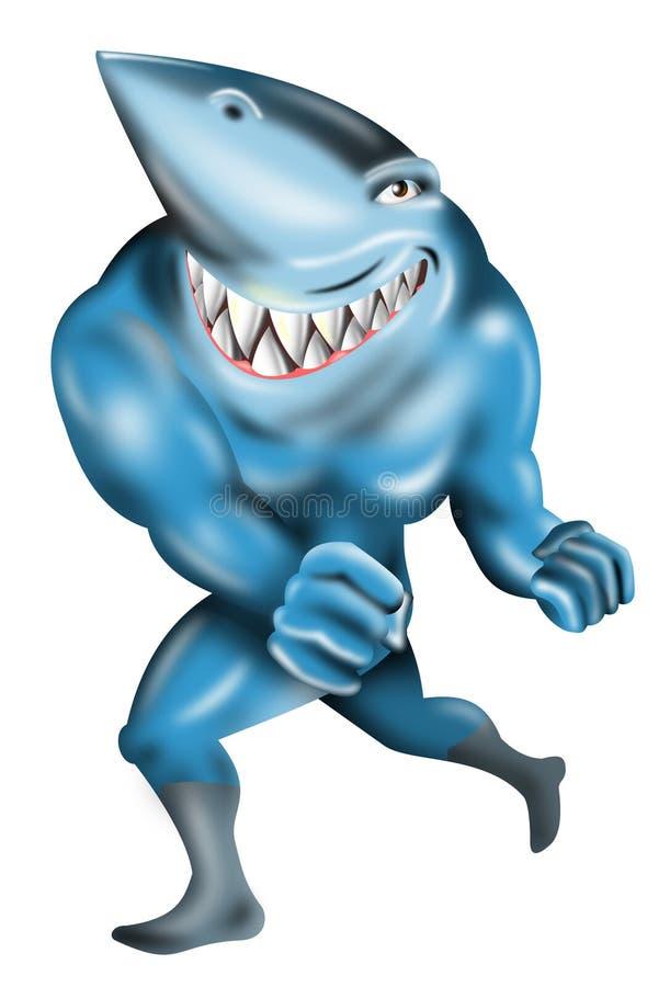 Tubarão como um bandido super ilustração do vetor