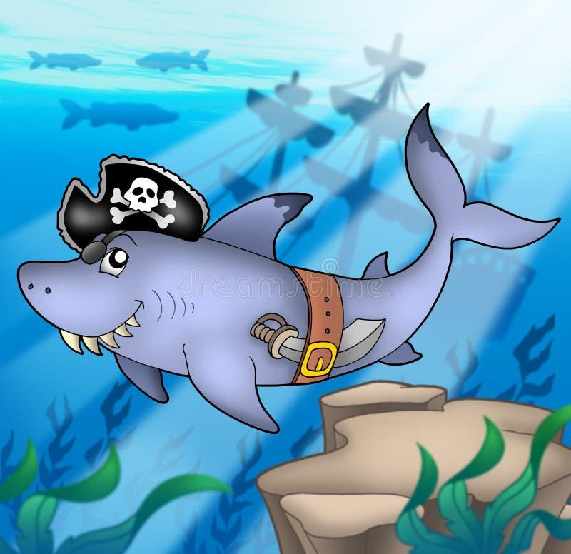 Tubarão do pirata dos desenhos animados com shipwreck ilustração stock