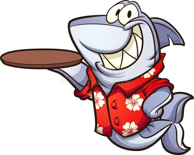 Tubarão dos desenhos animados que veste uma camisa havaiana e que guarda uma placa vazia ilustração do vetor