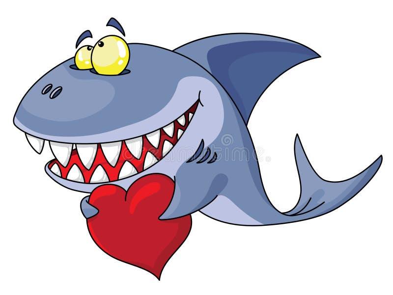 Tubarão e coração ilustração do vetor