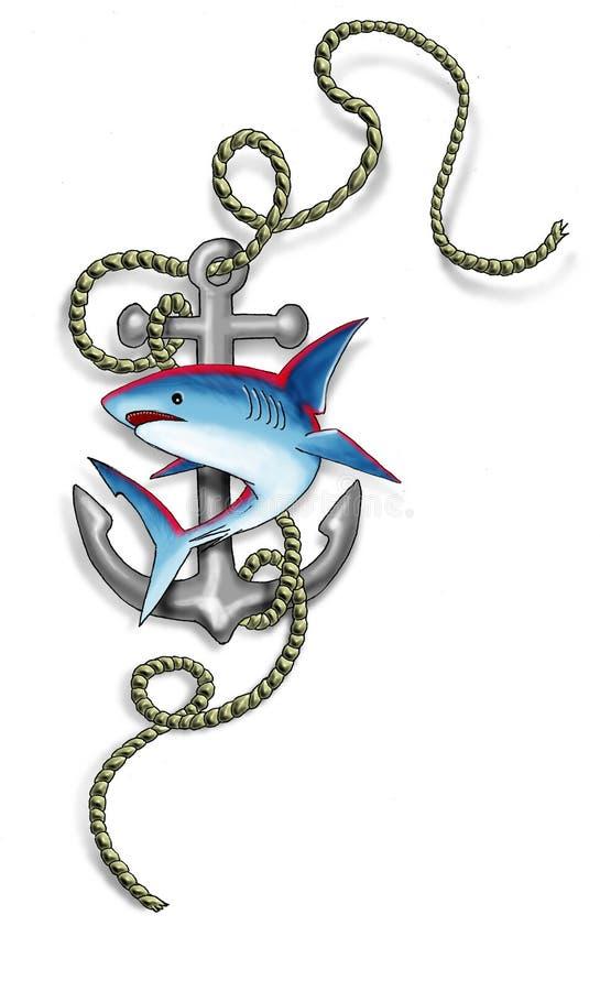 Tubarão e escora ilustração do vetor