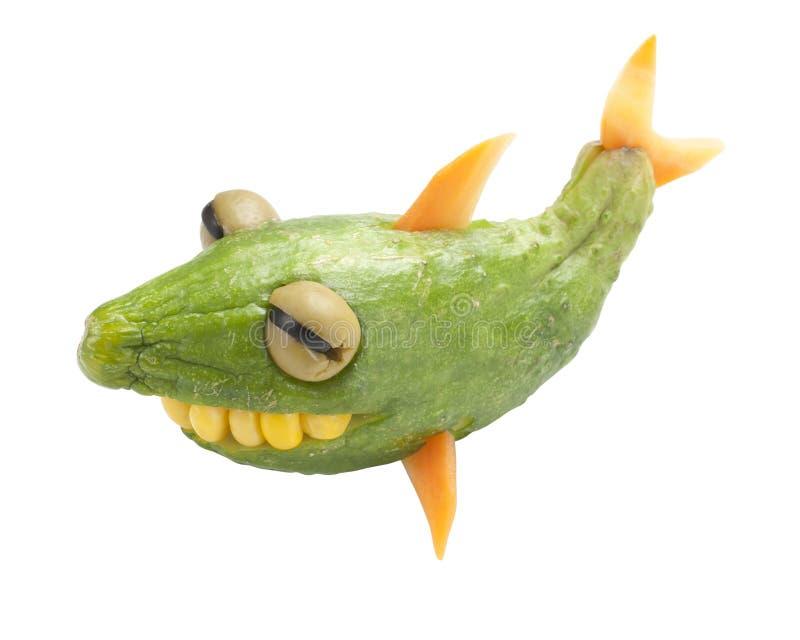 Tubarão engraçado feito do pepino imagem de stock