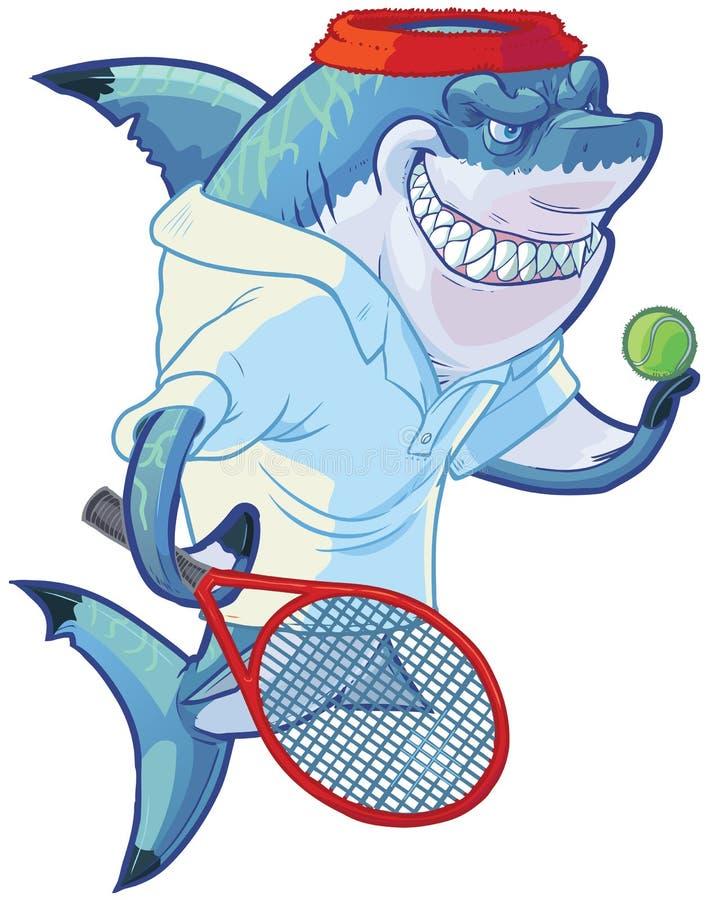 Tubarão médio do jogador de tênis dos desenhos animados com raquete e bola ilustração royalty free