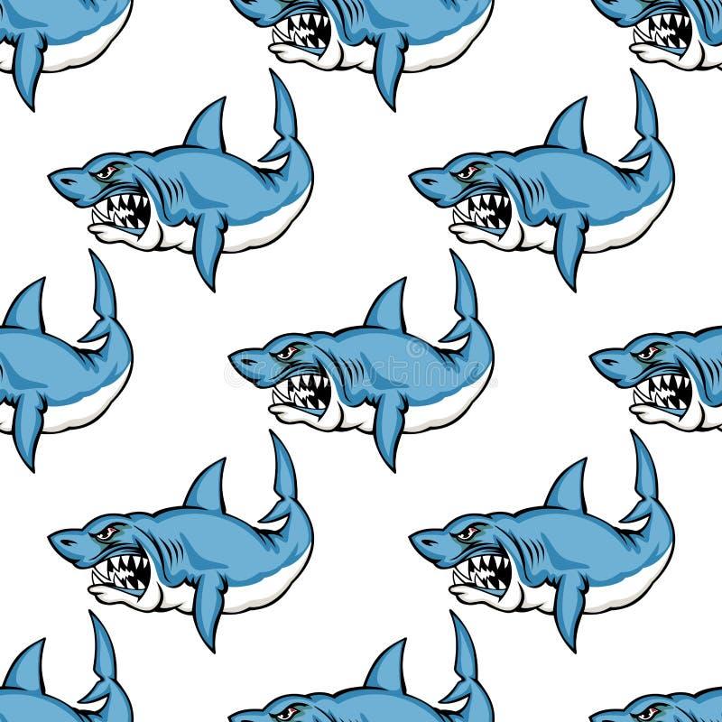 Tubarão predatório feroz da natação ilustração do vetor