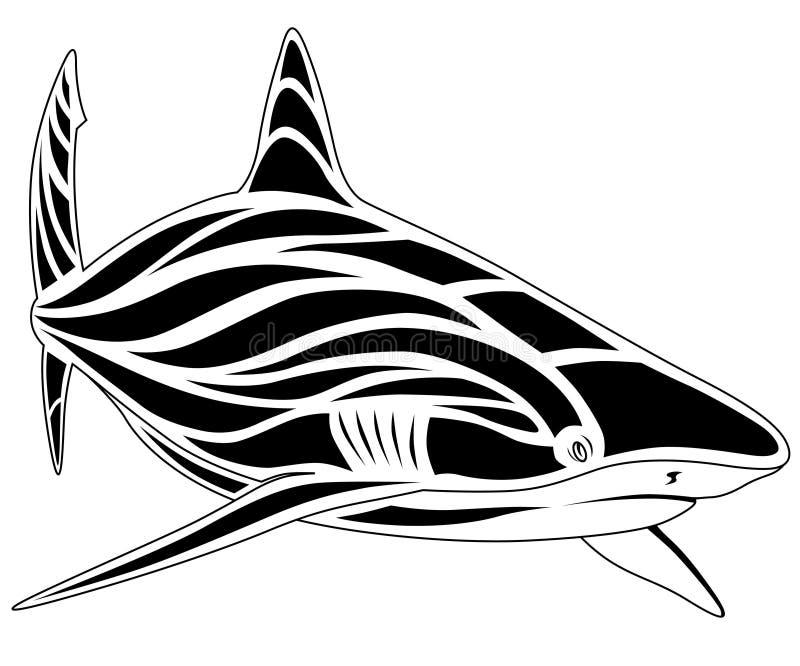 Tubarão, tatuagem ilustração royalty free
