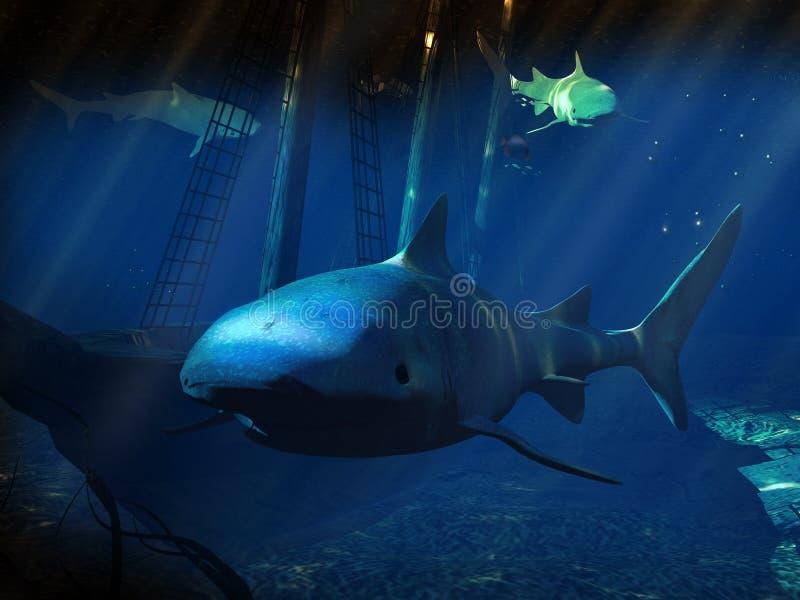 Tubarões ilustração royalty free