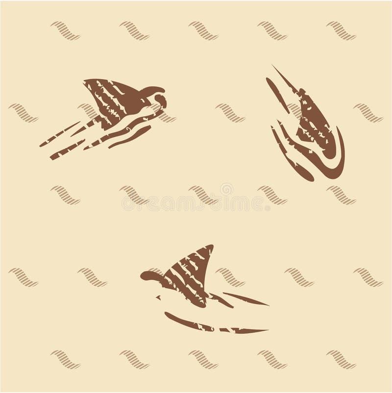 Tubarões do vintage do Grunge 3 aletas ilustração do vetor