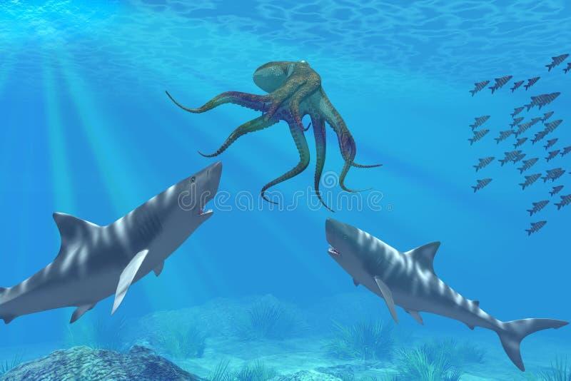 Tubarões na caça ilustração stock