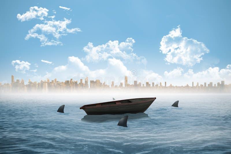 Tubarões que circundam um bote no mar ilustração stock