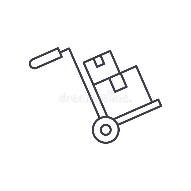 Tubatura di adduzione ingombrante concetto dell'icona Illustrazione lineare di vettore ingombrante di consegna, simbolo, segno illustrazione di stock