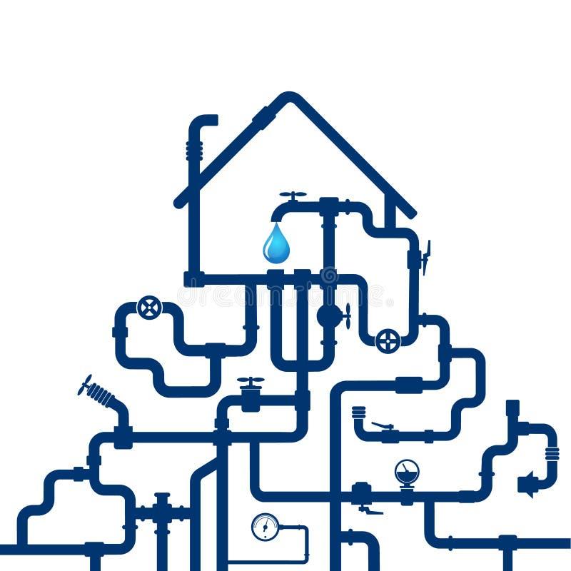 Tubature dell'acqua e casa illustrazione di stock
