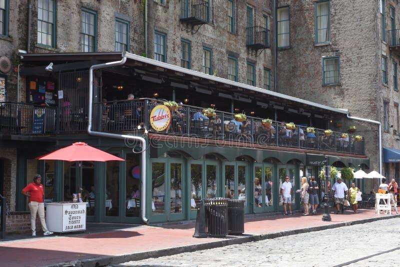 Tubby`s on River Street, Savannah, Georgia stock photo