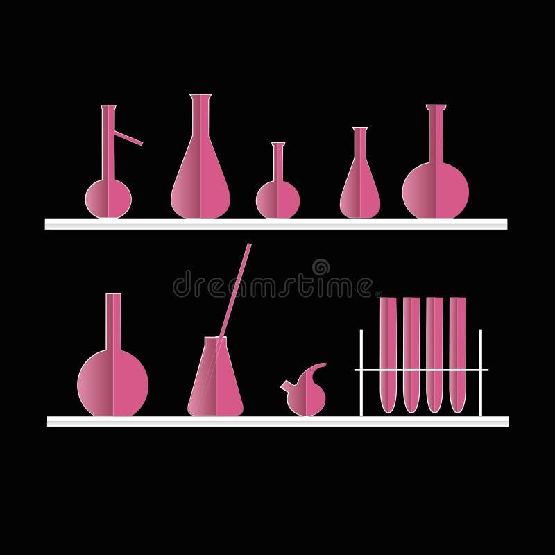 Tube à essai chimique sur des étagères, sur le noir illustration stock