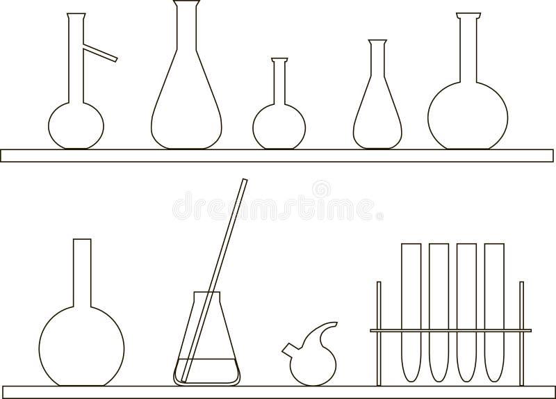 Tube à essai chimique sur l'étagère Découpes minces noires sur le blanc illustration libre de droits