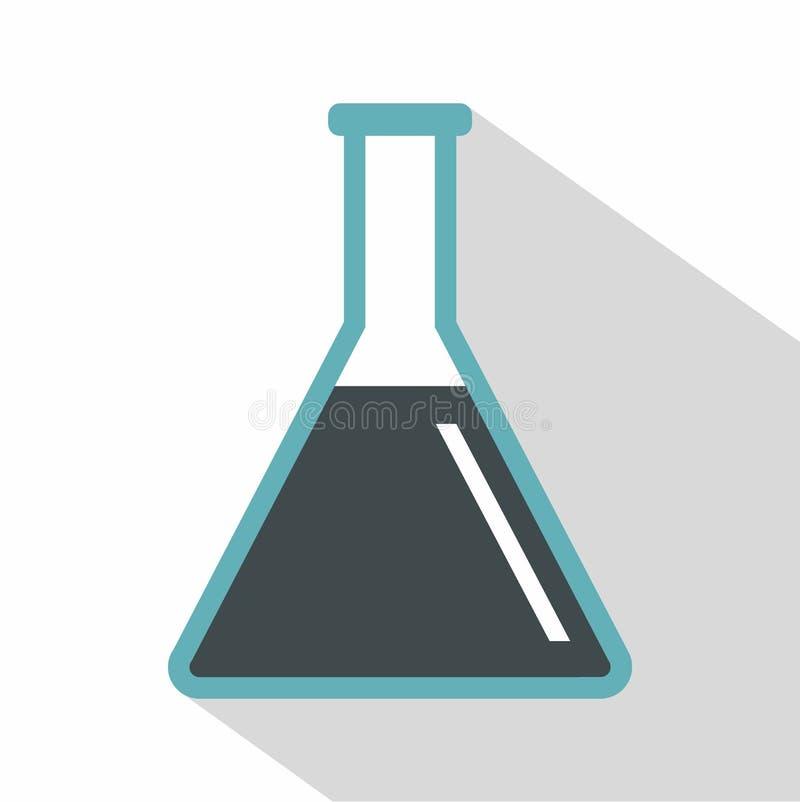 Tube à essai de fiole conique avec l'icône d'huile, style plat illustration de vecteur