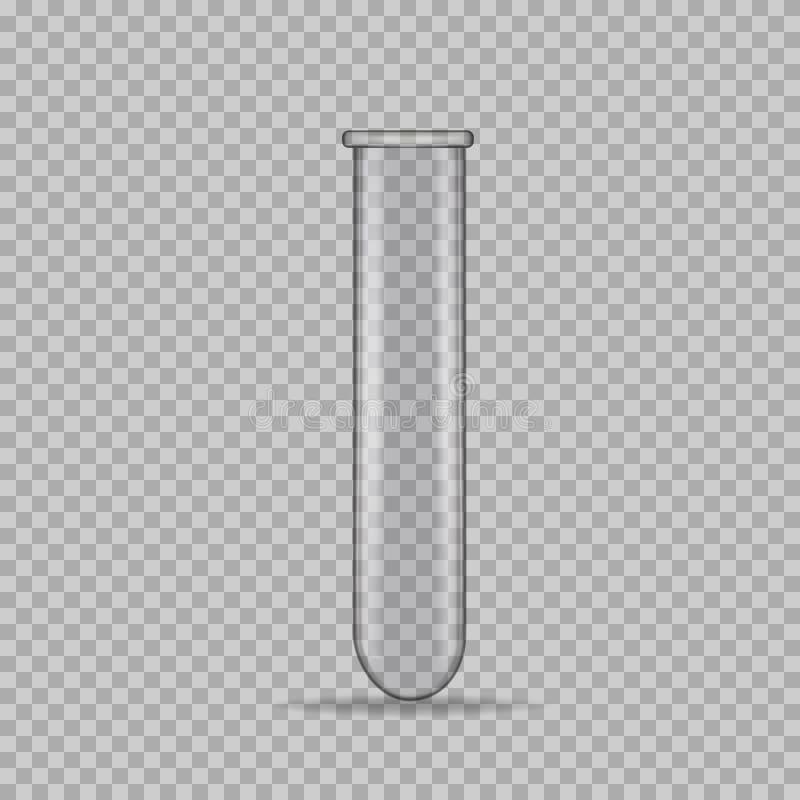 Tube à essai en verre transparent, vecteur illustration stock