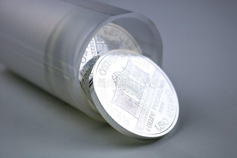 Tube of Bullion Coins royalty free stock image