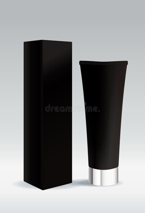 Tube cosmétique dans la couleur noire pour la crème ou le gel illustration libre de droits