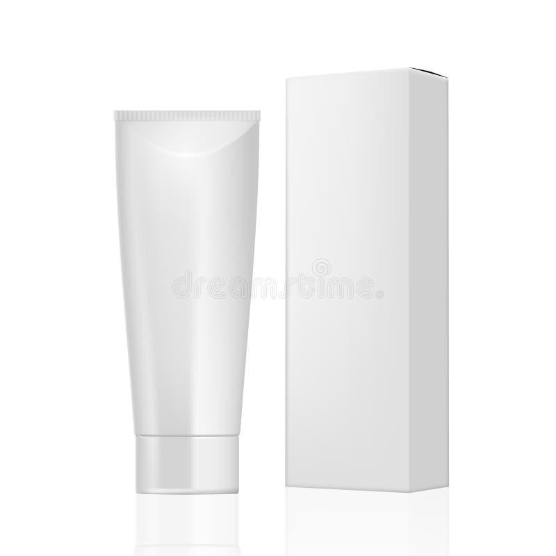 Tube crème cosmétique avec la boîte de empaquetage de papier illustration de vecteur
