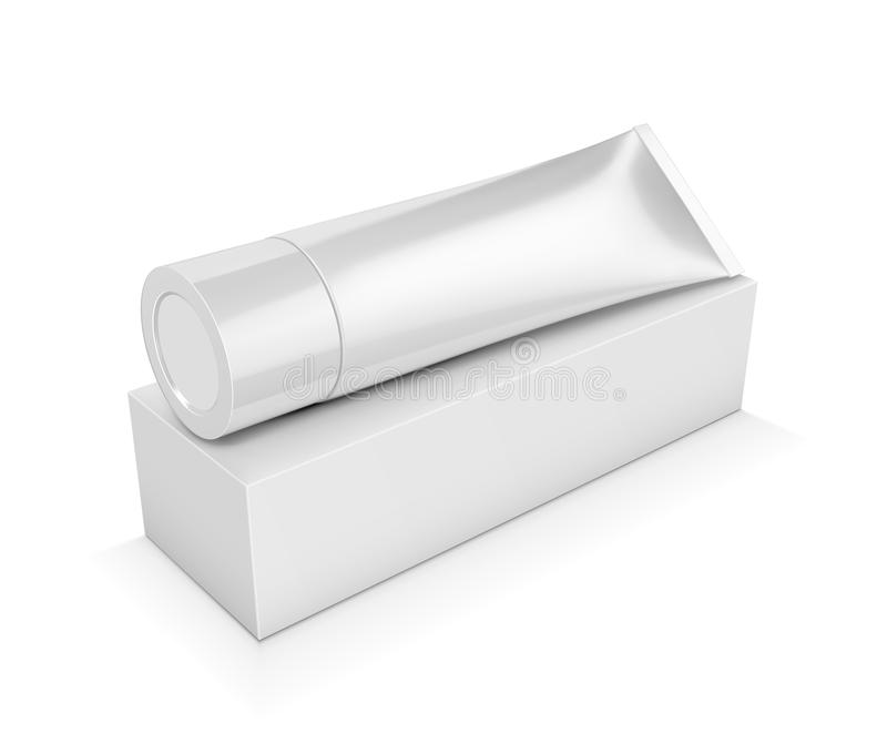 Tube with cream or toothpaste with square white packaging on a w stock illustration