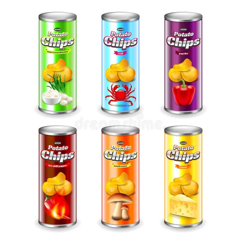 Tube de pommes chips empaquetant l'ensemble réaliste du vecteur 3d illustration stock
