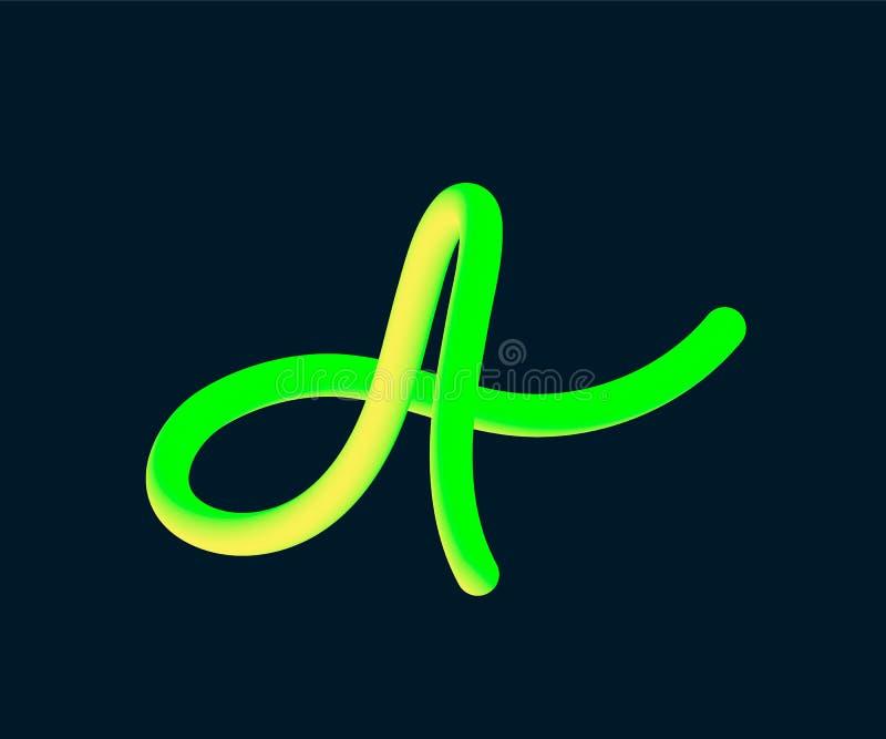 tube de vecteur 3D de la lettre A Illustration de vecteur de calligraphie illustration stock