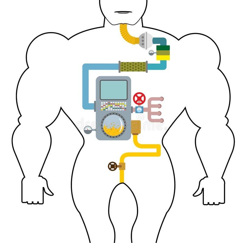Tube digestif artificiel Personne de digestion Gorge et estomac illustration stock