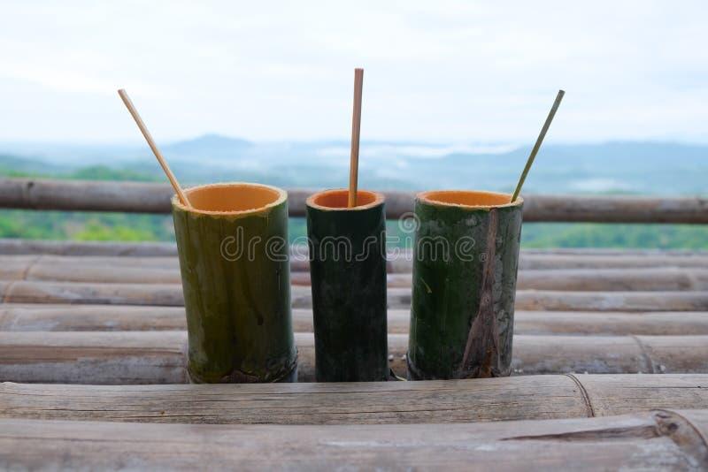 Tube en bambou fait main pour l'eau potable  image stock
