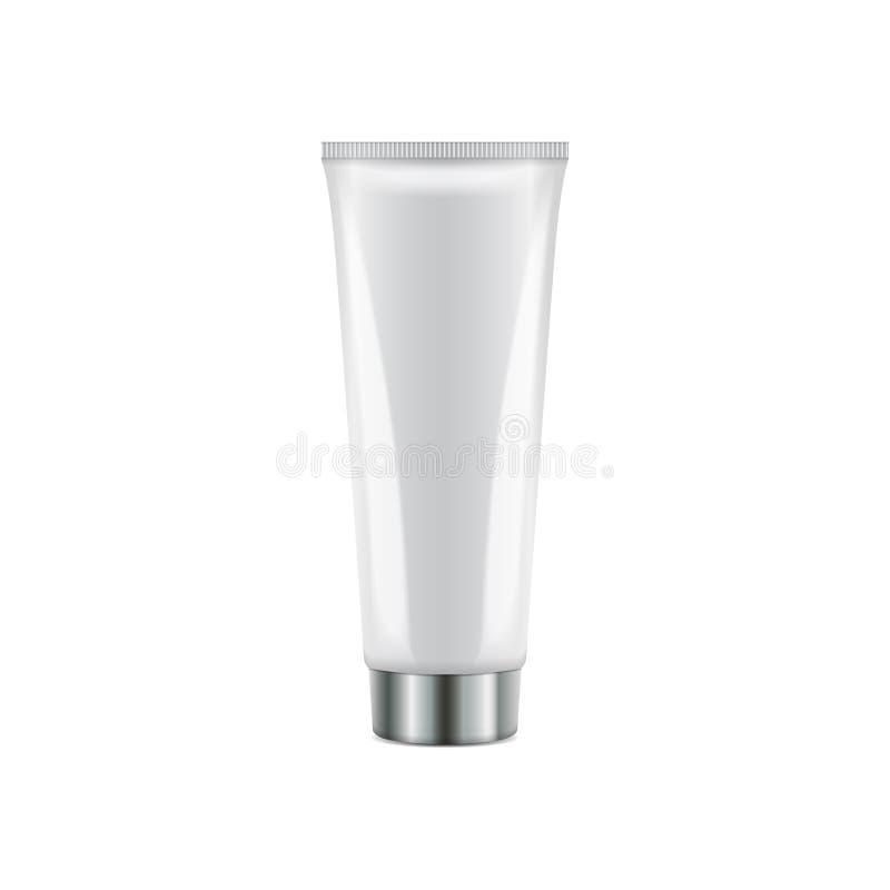 Tube en plastique de vecteur avec le chapeau argenté rond Calibre blanc réaliste de maquette d'emballage illustration libre de droits