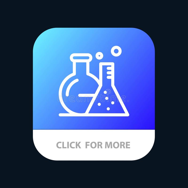 Tube, Flask, Lab, Science Mobile App Button. Android and IOS Line Version vector illustration