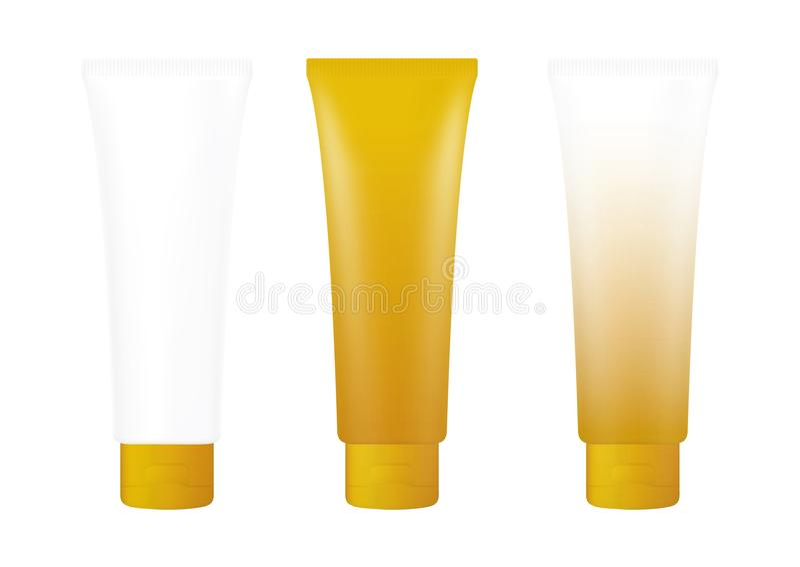 Tube Gold Cream Foam Bottle on white background isolated, cosmetics, cream tube treatment tube white vector illustration