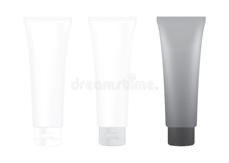 Tube Gray Black Cream Foam Bottle on white background isolated, cosmetics, cream tube treatment tube white royalty free illustration