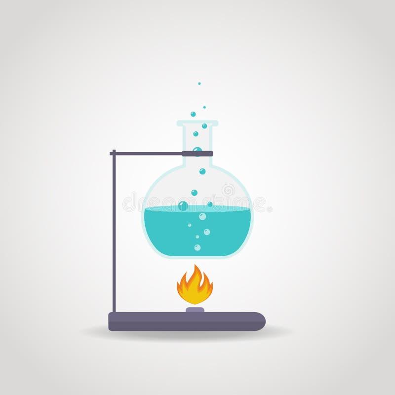 Tube Lab. Chemistry tube with blue liquid on lab burner royalty free illustration
