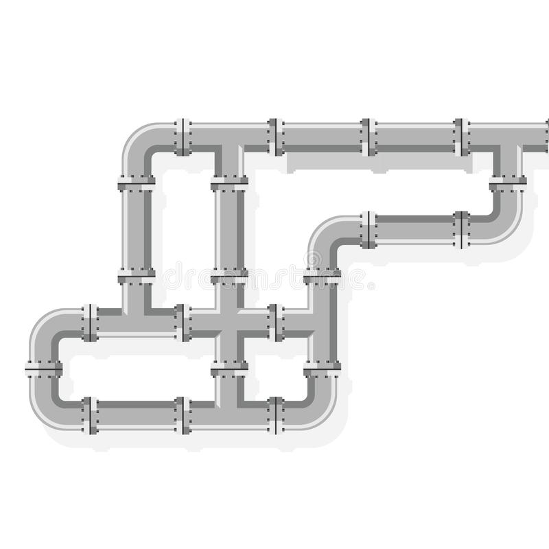 Tube lines for plumbing and piping work. Pipe line for water, gas, fuel and oil. Details and connectors industrial pipes vector illustration