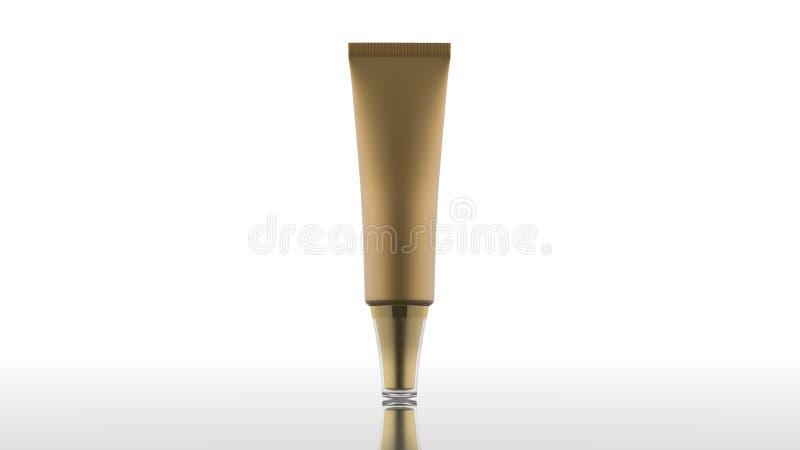 Tube mat vide de cosmétique et d'or de soins de la peau sur l'écran blanc d'isolement photographie stock